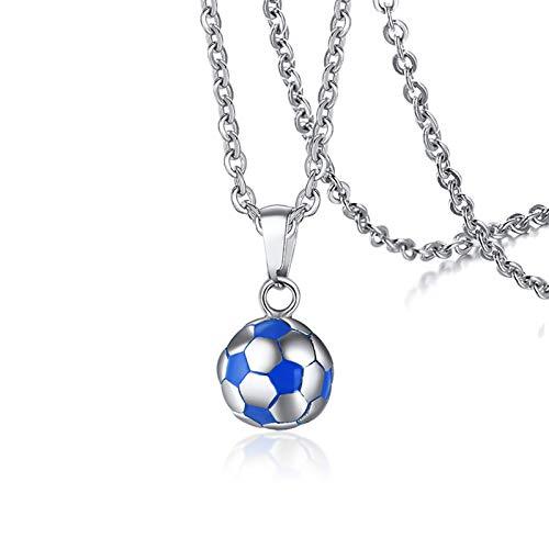 AmDxD Herren Edelstahl Halskette Fußball Anhänger Freundschaftsketten Damenkette Edelstahlanhänger Silber Blau