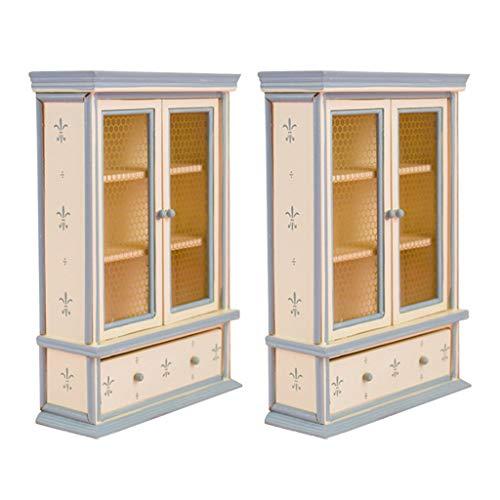 freneci 2 Pezzi 1/12 Mobili per Casa delle Bambole Armadietto in Legno Scene Accessori Decorativi