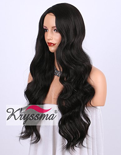 K'ryssma Dark Brown #2 Synthetic Wigs UK Right Side Parting Full Machine...