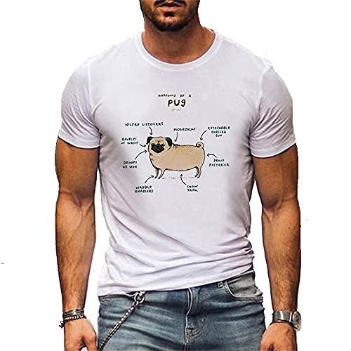 Camiseta Hombres Verano Casual Cuello Redondo Creativo Patrón Cachorro Shirt Deportiva Hombre Slim Fit Elasticidad Cómoda Shirt Correr Jogging Entrenamiento Manga Corta Hombres A-DG1 XL