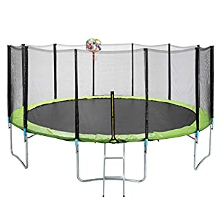Round Trampoline With Enclosure Net and Basketball Hoop