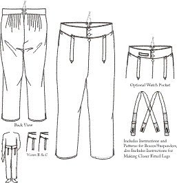 Man's High Waisted 1790-1810 Trousers Pattern (Sizes 28-42 Waist) - Also Aviailable in a Large Size
