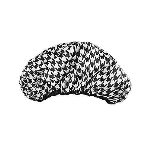 Product Image of the Betty Dain Socialite Collection Terry Lined Shower Cap, Waterproof Nylon Exterior, Reversible Design for Shower or Sleeping Cap, Oversized for All Hair Lengths, Elasticized Hem, Houndstooth