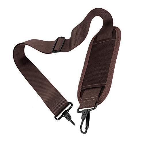 Taygeer - Correa de repuesto universal ajustable para el hombro con gancho transpirable, almohadilla antideslizante, para equipaje, bolsa de herramientas, bolsa de maquillaje, bolsa de cámara, maletín de color marrón