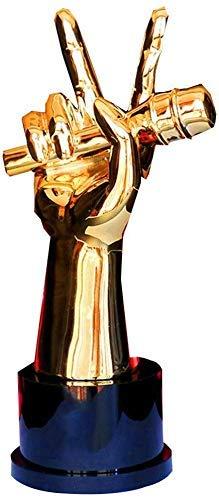 HFJKD Trofeo de micrófono, Concurso de Canto Trofeo de Buen Sonido Trofeo de Resina Trofeo de Nota Trofeo de excelente Empleado, Oro, 25,5 * 8 cm