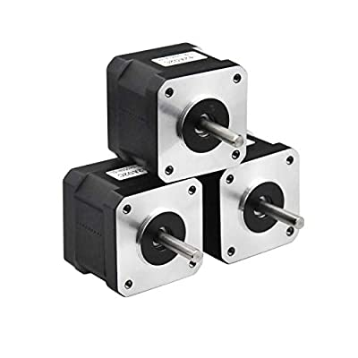 RTELLIGENT Nema 17 Stepper Motor, 3PCS 2 Phase Step Motor Bipolar 1.5A 59.5oz.in(42Ncm) 42x42x38mm 4-wire 30cm Long Cable for 3D Printer (42A02C-XH2.54, 3)