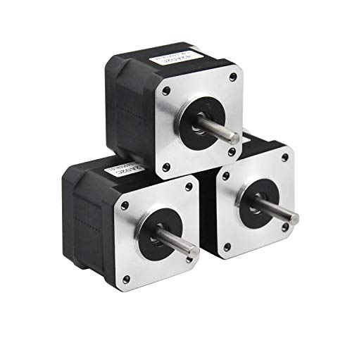 RTELLIGENT Nema 17 Stepper Motor 3PCS, 2 Phase Step Motor Bipolar 1.5A 59.5oz.in(42Ncm) 42x42x38mm 4-Wire 30cm Long Cable for 3D Printer (3, 42A02C-XH2.54)