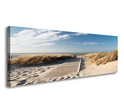 bestpricepictures 120 x 40 cm Bild auf Leinwand Nordsee Schilf Düne 5732-SCT deutsche Marke und Lager - Die Bilder/das Wandbild/der Kunstdruck ist fertig gerahmt
