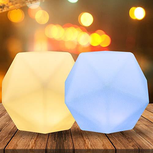 Luz Nocturna Infantil, Lamparita de mesa de noche CNSUNWAY, 10 colores y 3 ajustable brillos para niños, luz de noche recargable por USB para dormitorio de lactancia para bebés y niños (2 pack