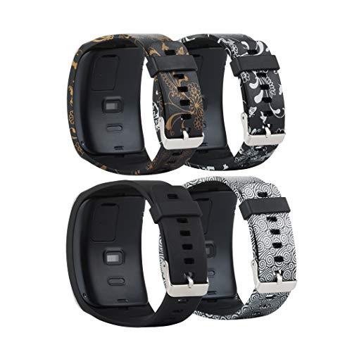 Baaletc Samsung Galaxy Gear S R750 Smart Watch Ersatz-Armband / kostenlose Größe Wireless Smartwatch Zubehör Band mit sicherer Schnalle, schwarz-goldene Blume/schwarze Blume/Wolken