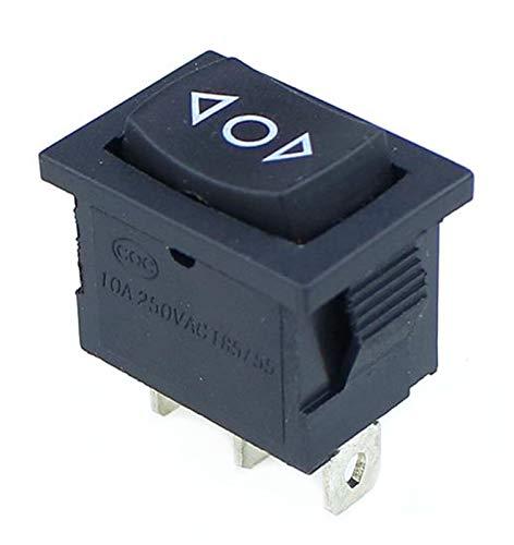HGLNBN Interruptor basculante 10 pcs pequeña Negro 3 Pines / 6 Pines de Encendido/Apagado/Encendido Rocker AC 6A / 250V10A / 125V (Color : 3 Pin Self Reset)