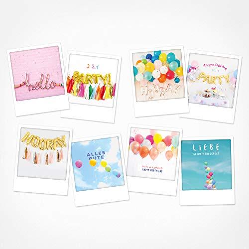 PICKMOTION Set mit 8 Foto-Post-Karten Grüße & Wünsche, Instagram-Fotografen-Geburtstag-Karten, handgemachte Grußkarten, lustige Sprüche & Motive, Tiere, Blumen, bunt, BPK-0109