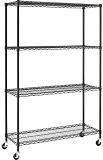 Hyper Tough 4-Shelf Commercial Grade Wire Shelving System with Bonus Shelf Liners and Casters, Black