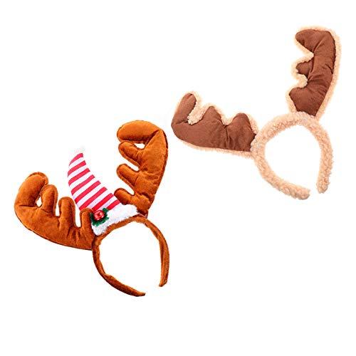 Tomaibaby 2 Unids Ciervos Cuernos Diadema Navidad Reno Diadema Navidad Reno Orejas Diadema Pelo Aro para Nios Adultos Cosplay Disfraz
