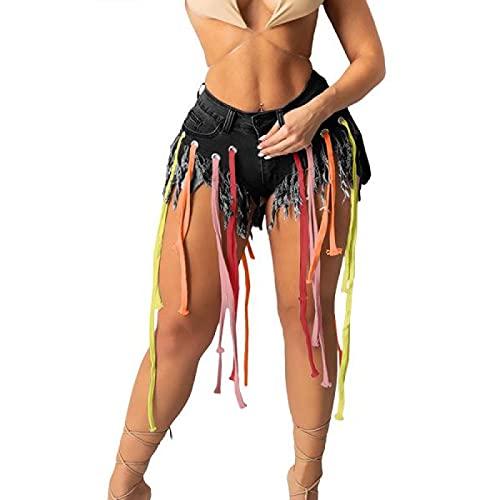 Corumly Pantalones Cortos de Mezclilla para Mujer Pantalones Cortos de Mezclilla con Flecos de Tendencia de Personalidad Americana L