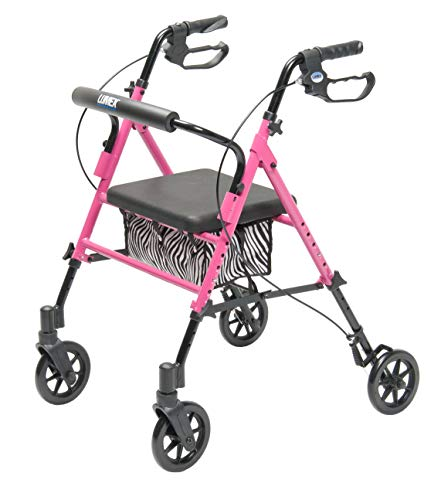 Lumex Set n' Go 2-in-1 Height-Adjustable Rollator, Pink with Zebra Pouch, RJ4700P
