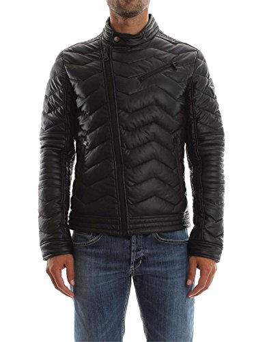 Guess Stretch Eco Leather Biker Abrigo, Negro (Jet Black Jet