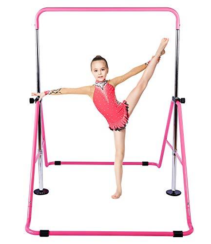 Gymnastic Bars for Kids with Adjustable Height, Folding Gymnastic Training Kip Bar, Junior Expandable Horizontal Monkey Bar for Home (Pink)