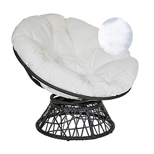 ZTGHS Papasan stolskudde, rund ägg bo stol stol stol stol tjock överfylld swing rottingstol matta för hängande hängmatta, vit, 50 x 50 cm (20x20 tum)