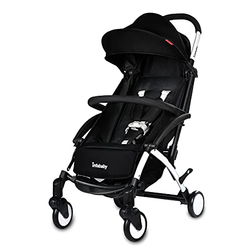 Infababy® Ezeego Stroller Next Generation/Stylish Design/New Born to 3 Years Toddler/Comfortable 5 Backrest Positions/Free Raincover & Carry Bag/Suitable for Travelling - Lunar Black