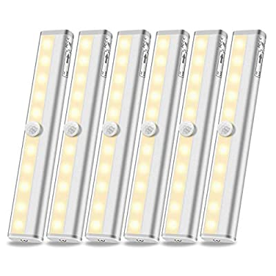 Anbock Motion Sensor Closet Lights, Wireless Under Cabinet Lighting Stick-on Anywhere Battery Operated Night Light for Kitchen Hallway Stairs Wardrobe Warm White(6 Packs)