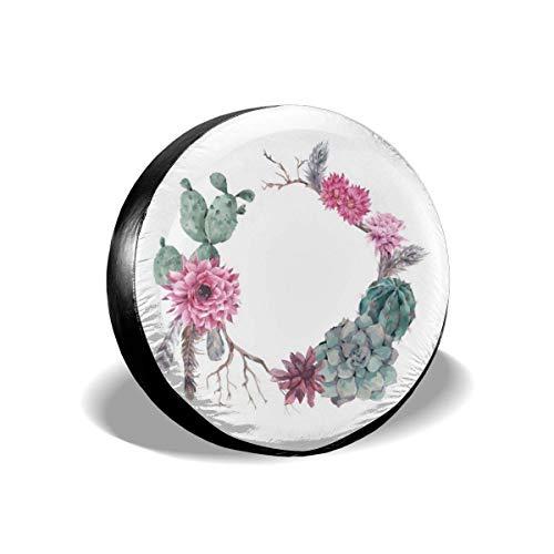 Corona Floral Vintage Estilo Boho Elegante Rama Pluma Cubierta de neumático poliéster Cubierta Universal de neumático de Repuesto Cubiertas de Rueda (14,15,16,17 Pulgadas)