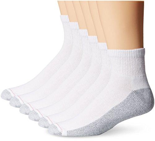 Hanes Men's FreshIQ Big-Tall ComfortBlend Ankle Socks, White, 12-14 (Pack of 6)