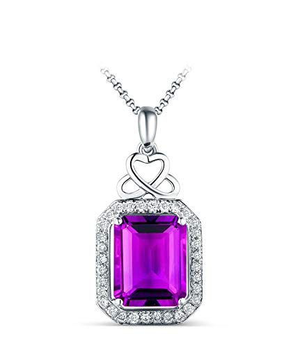 ButiRest 18 carat jewellery, 3.21 ct purple amethyst princess cut with diamond 18 carat 750 white gold pendant hollow heart women's necklace diamond