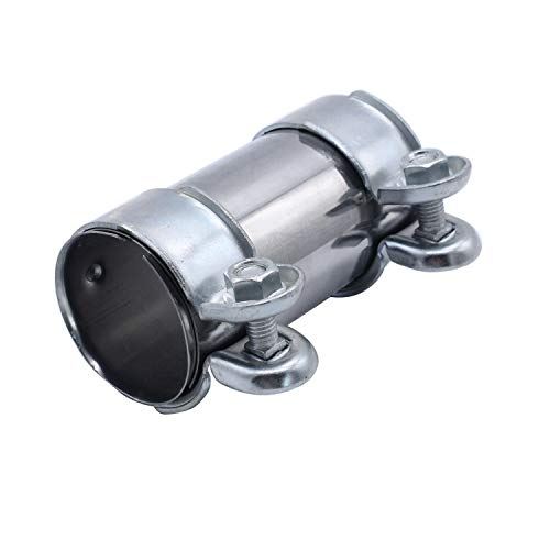 TAKPART Abrazadera de tubo de escape, abrazadera doble para tubo de escape, diámetro 55 mm x 125 mm