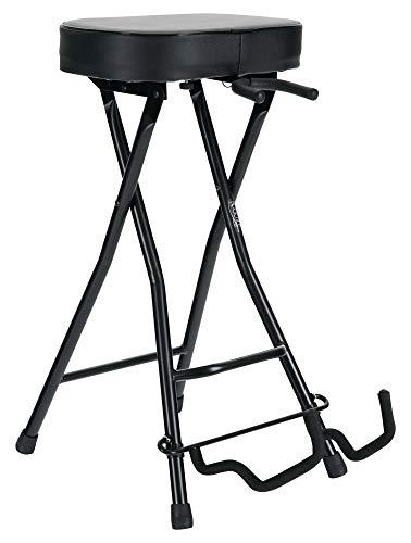 Rocktile Gitarrenhocker mit Gitarrenhalter - Hocker und Ständer in einem - rechteckige Sitzfläche - klappbar - schwarz