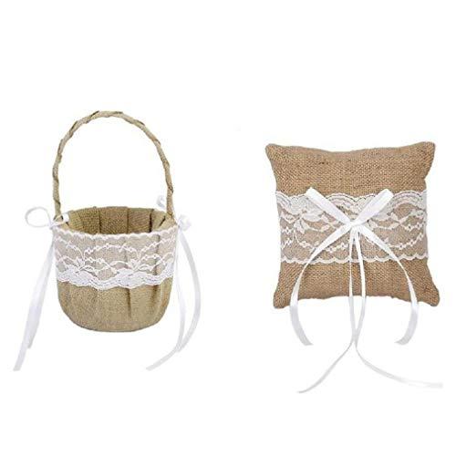 Top burlap ring bearer pillow and flower girl basket set for 2021