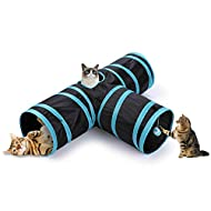 GEEZY Cat Tunnel Toy, 3 Way Pop Up Play Tunnel With Dangling Ball - Collapsible Pet Toy Crinkle Tunn...