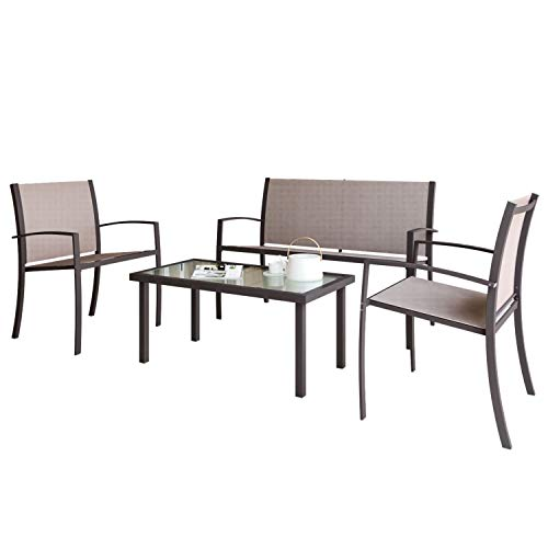 Garden Furniture Set, Indoor Outdoor 4 Piece set Patio Furniture Sofa Set, Garden Table and Chair 4 seater, 2 ArmChairs + 1 Double Chair Sofa + Glass Coffee Table Suitable for Patio Backyard Poolside