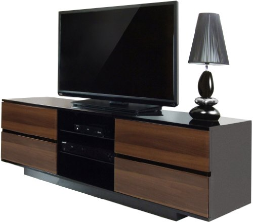 Centurion Avitus Walnut Black, Gloss Black with 4-Walnut Drawers & 3-Shelf 32