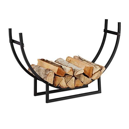 Relaxdays Kaminholzregal, halbrund, Innenbereich, pulverbeschichteter Stahl, Brennholzregal, HxBxT 55x92x21 cm, schwarz, 1 Stück
