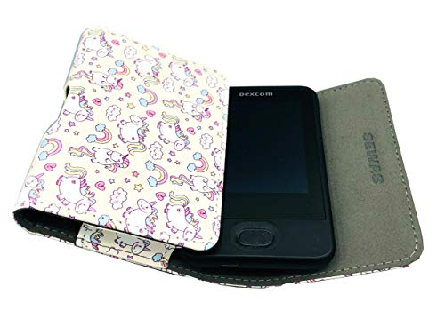 SEWAS Diabetic Care, Tasche für das DEXCOM G6, Gürteltasche Blutzuckermessgerät, Diabetikertasche, Schutzcase Creme Weiß mit Einhorn Motiven