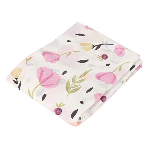 Toalla de baño suave para bebés, toalla de baño de dibujos animados lindo, resistente al desgaste y lavable,(Pink flower)