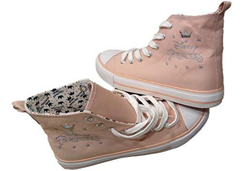 Disney Princess Pink - Zapatillas con cordones para mujer o niña, con corona plateada bordada y estrellas Disney para mujer, color Rosa, talla 40 EU