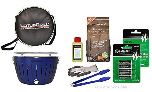 Lotusgrill Premiumset 1 Grill mit USB Anschluß, 1x Grillhandschuh, 1x Buchenholzkohle 1 kg, 1x Brennpaste 200ml, Vorratspack Batterien AA, 1x Transporttasche raucharm Grillen (Tiefblau)