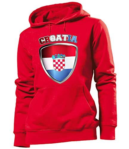 Golebros Kroatien Croatia Hrvatska Fussball Fußball Trikot Look Jersey fanhoodie Damen Frauen Hoodie Pulli Sweatshirt Kapuzen Pullover Fan Fanartikel Outfit Bekleidung Oberteil Artikel