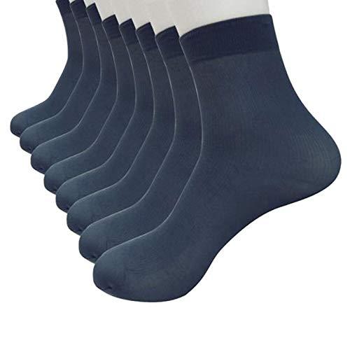 Janly Clearance Sale 8 pares de calcetines de seda de fibra de bambú ultrafinos elásticos y sedosos para hombre, calcetines (tamaño azul marino)