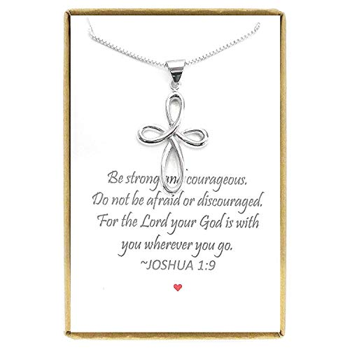 Cross Necklace, Baptism Gift for Teen Girl, Sterling Silver Cross Necklace 18 inches with 2 inch Extender