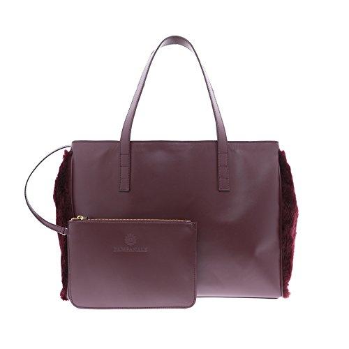 Kokomorocco Rindsleder Damen Handtasche, Farbe weinrot, Haar Merinoschafe, Shopping Bag
