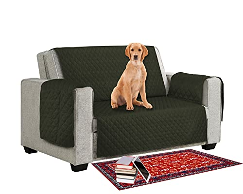 Sofa Slipcover for 1/2/3 Seater Couch – Non Waterproof Fit with Elastic Strap Sofa Cover - 1-Piece Anti- Slip Wrinkle Resistant Couch Cover Pet Dog Kid Sofa Protector (Dark Green, 3 Seater)