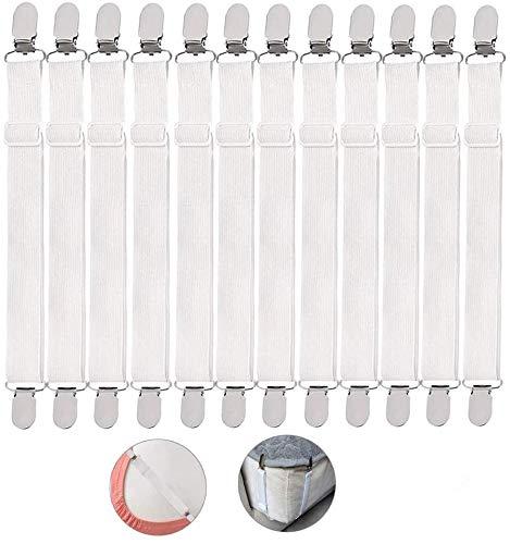 Ealicere 12 Piezas ElásticoTensor de sábana Bajera Ajustable,Sujetadores de Hojas Sujetadores de Tirantes Ajustables para sábanas o sofás