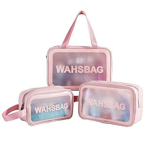 Timertick Borsa Trasparente 3 Pezzi,Borsa da Toilette Impermeabile per Piscina,Bagno,Viaggio,Volo,Multi Dimensione Make Up Bag (Rosa)