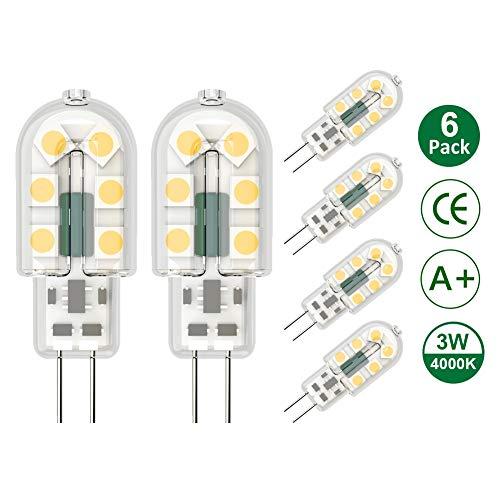 Klighten 6-Pack 3W G4 LED Bombillas, AC/DC 12V Bombillas de iluminación equivalente a 25W Halógena, Blanco natural 4000K, No Regulable