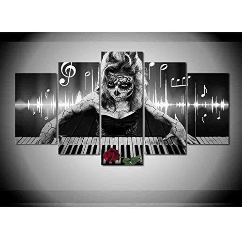 GIAOGE 5 stuks doden gezicht schilderij piano muziek schedel canvas schilderij poster wooncultuur muurkunst afbeelding ohne gerahmt 40 x 60, 40 x 80, 40 x 100 cm.