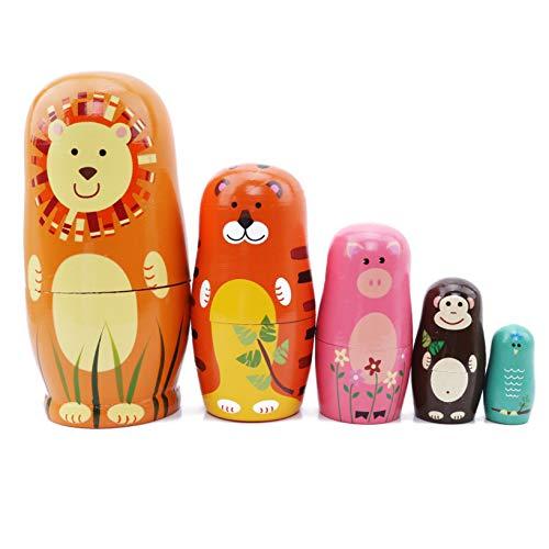 HJUEY 5 Stück Nesting Dolls Cartoon Löwentiger Schwein Holz Russische Matroschka Stapeln Spielzeug Puppe Mädchen Raumdekoration