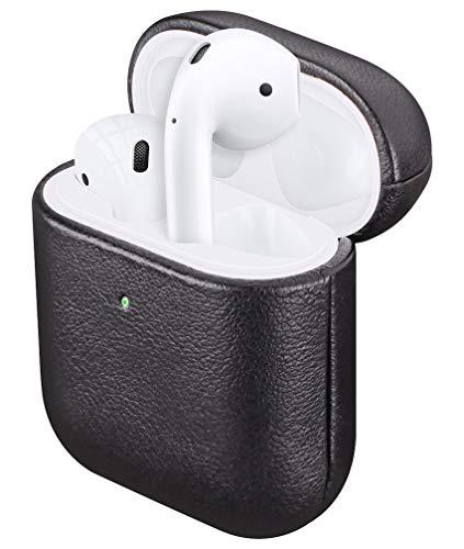 Fooyin [Handgefertigtes Serie] Leather Case für AirPods, Leder Hülle kompatibel mit Apple AirPods 1. und 2. Generation, AirPods 1 & 2 Ledercase (komplett umhüllendes mit Schafsleder), Schwarz